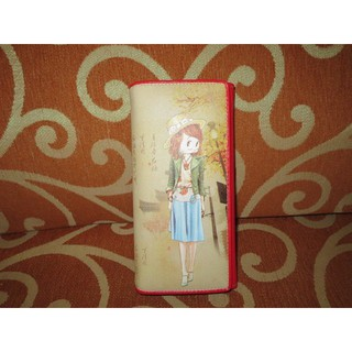 ///可愛娃娃///~正版Betty boop貝蒂紅色二折長夾~卡包~錢包~皮夾~中國風情-約19公分