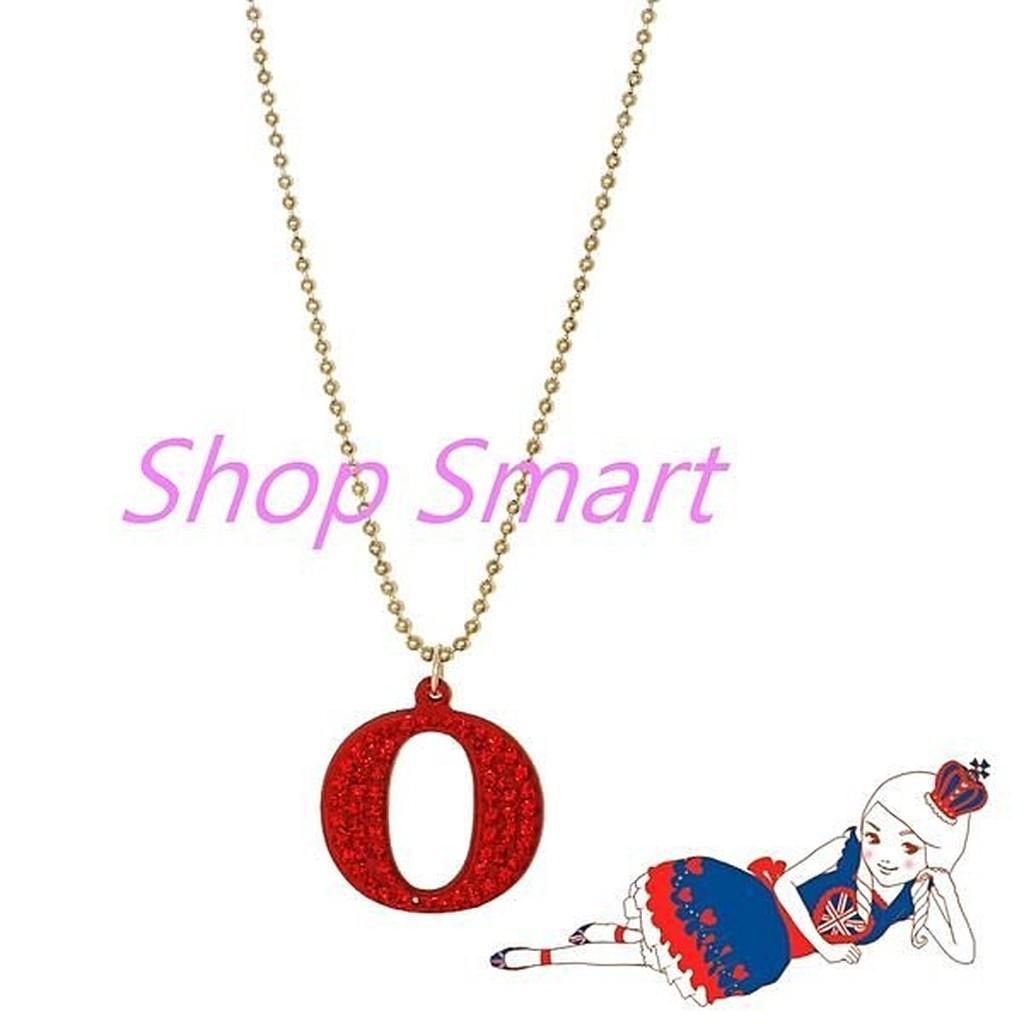 Anna Lou Of London 臺北ShopSmart直營店 倫敦品牌 O立體字母水晶項鍊-小/紅