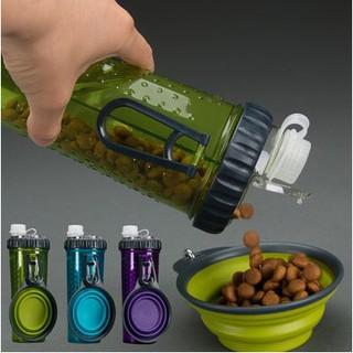 美國Dexas寵物狗狗貓外出飲水壺飲水器喝水碗兩用水杯/一邊水一邊飼料好方便