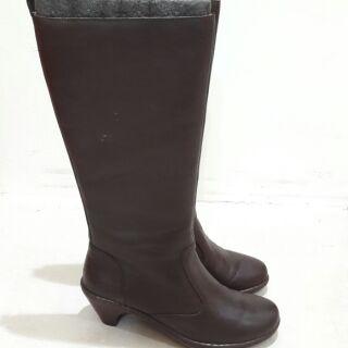 ORWARE專櫃真皮高筒高跟靴