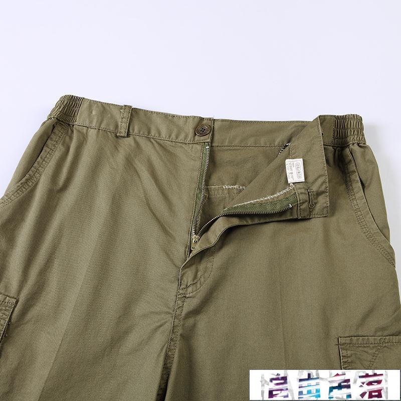 『自由角落』中老年男士5分褲皮帶純棉爸爸中褲多口袋裝休閒褲西裝短褲『熱銷商品』