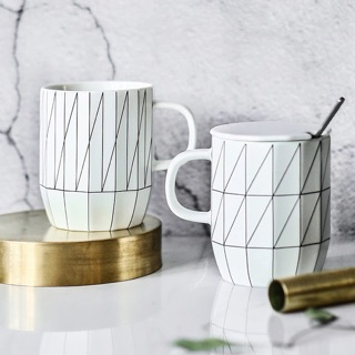 绘市集 北欧创意马克杯茶杯 带盖带勺水杯个性咖啡杯奶杯陶瓷杯子