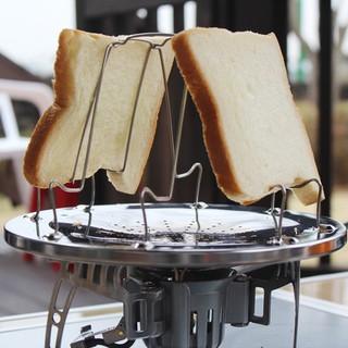 304不銹鋼烤麵包架4片式土司麵包盤韓國戶外野餐燒烤架可折疊烤盤
