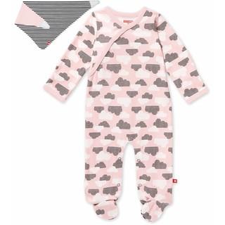 預購 美國帶回 Skip Hop 新款 新生兒 女寶寶兩件式禮物組 粉色雲朵長袖包腳衣+圍兜組 彌月禮