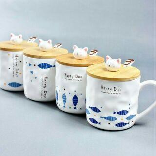 全新 現貨 日系 文藝 清新 創意 卡通 小魚 木蓋 帶勺 可愛貓咪 馬克杯 陶瓷杯