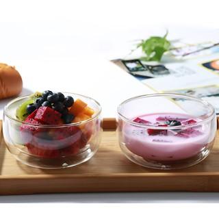 (DORA)【雙層耐高溫沙拉碗】沙拉碗 酸奶甜品碗 牛奶早餐碗 麥片碗 雙層 耐高溫玻璃碗
