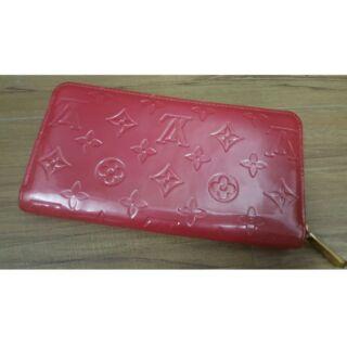 Lv 桃紅色 粉色 亮皮 漆皮 拉鍊長夾 拉鍊皮夾