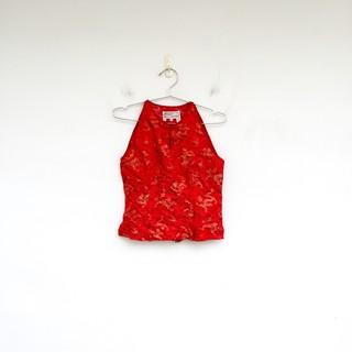 二手 紅色 中國龍 旗袍式 削肩 中短版 背心 明太子 0416