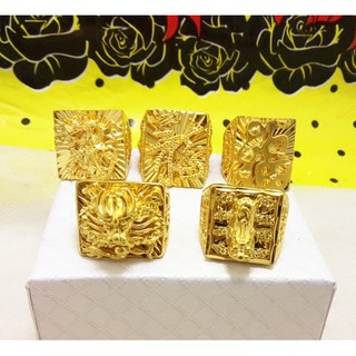 歐幣鍍24k黃金戒指加大重關公龍貔貅越南沙金仿金男款戒指不褪色