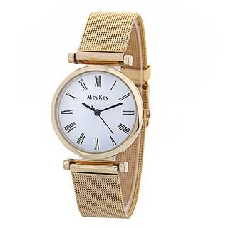 新款流行Mcykcy時尚鋼帶男女式商務手錶圓形錶盤腕表