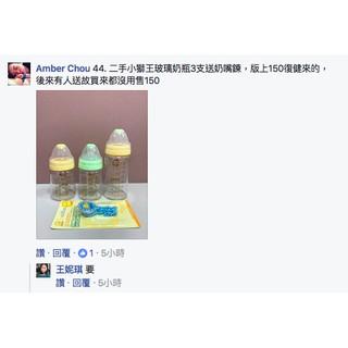 二手小獅王玻璃奶瓶3支送奶嘴鍊150+PPSU寬口葫蘆大奶瓶(360ml)150。王妮琪