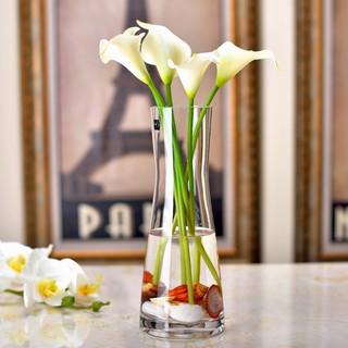 簡約玻璃花瓶創意透明人造水晶玻璃客廳餐桌裝飾花器擺件