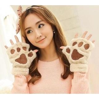 預購 Mini Style 手套 貓爪 冬季 可愛 卡通 貓咪 女款 露指 加厚 絨毛 熊掌 半指 B029900040