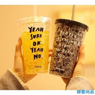 %23夏日冰杯 學生成人吸管杯塑膠水杯子創意冷飲冰杯雙層韓國製冷二次購買全賣場9.5折