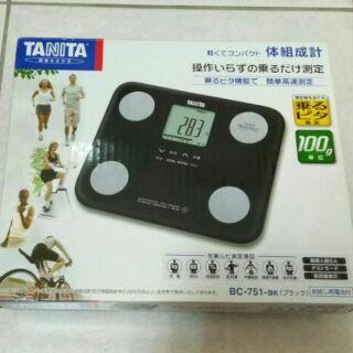喵舖。塔尼達 TANITA 七合一體脂計 BC751黑色 BC-751西合 羽量 輕巧 方便收納 多功能 限自取
