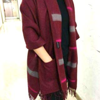 韓國Korea   雙面格紋流蘇圍巾