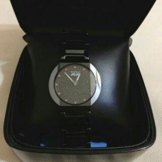 JO96617-88F NATURALL JOJO 黑陶瓷錶 切割藍寶水晶鑽 黑色晶鑽滿天星錶盤 35mm 女錶