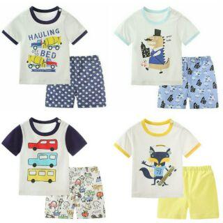兒童趣味圖案短袖套裝組(上衣+褲),90-120碼